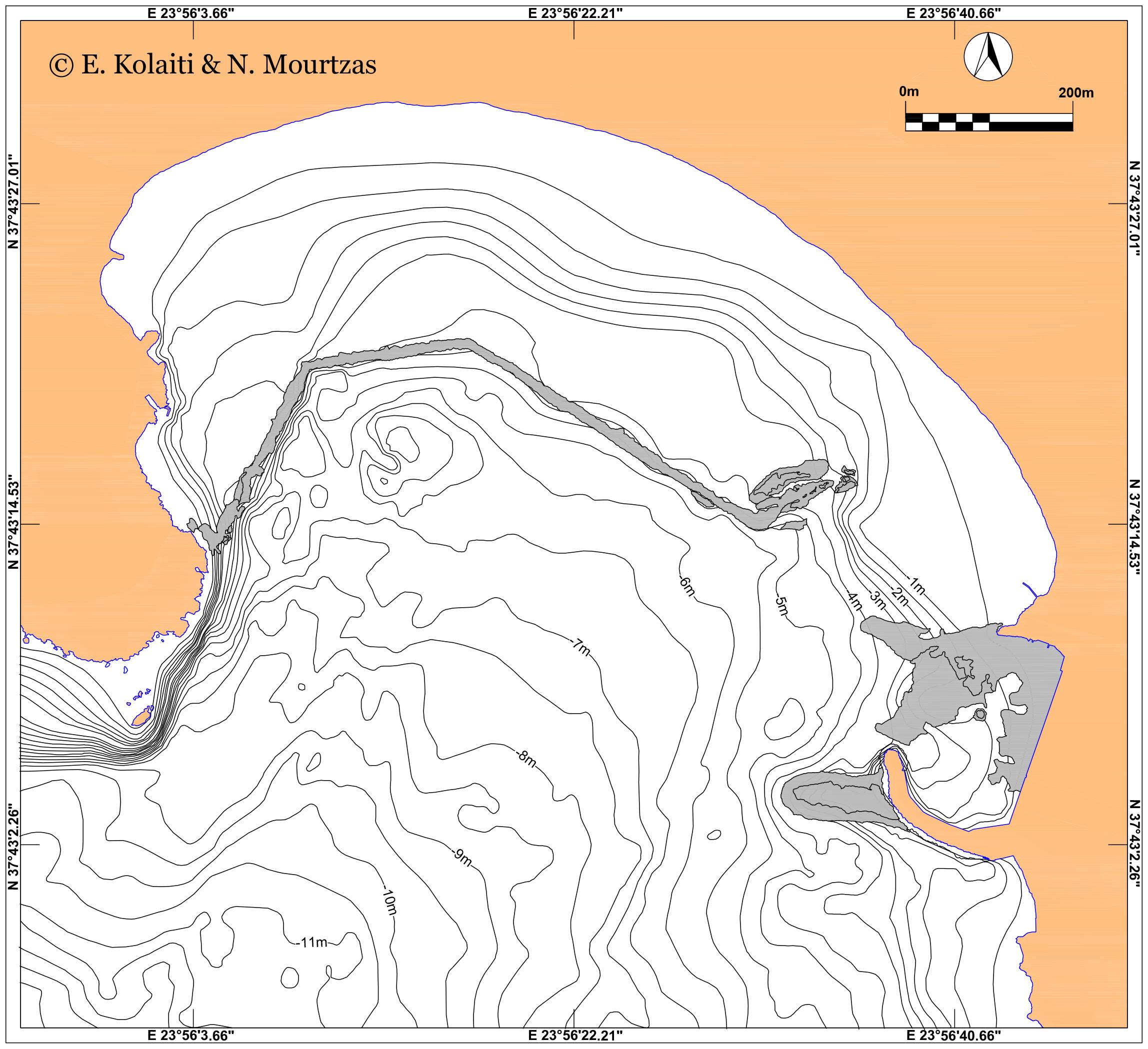 Χάρτης βυθισμένων αρχαίων λιμενικών εγκαταστάσεων στον όρμο της Αναβύσσου (ΝΔ Αττική)