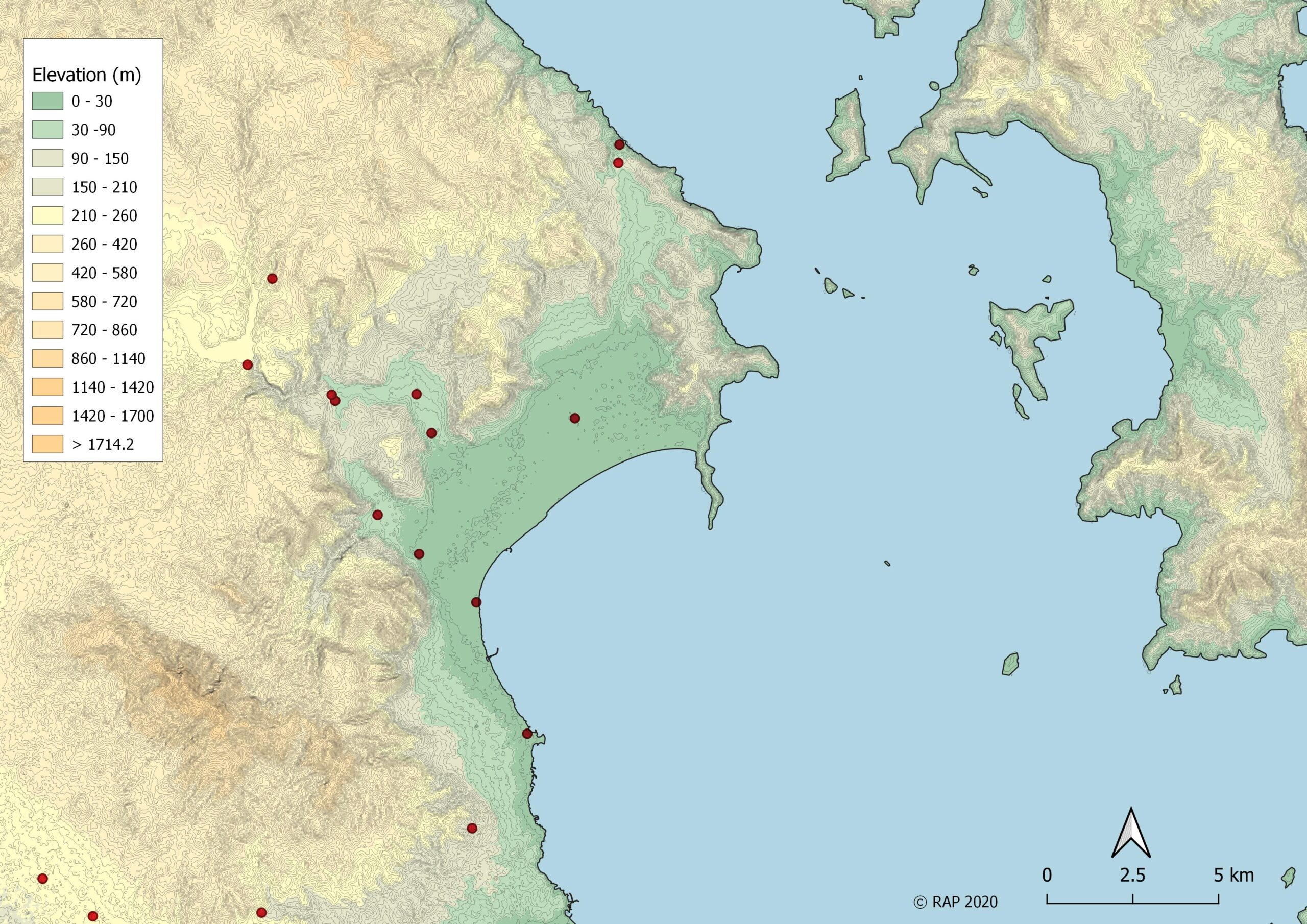 Χάρτης θέσεων ρωμαϊκών χρόνων στον Μαραθώνα