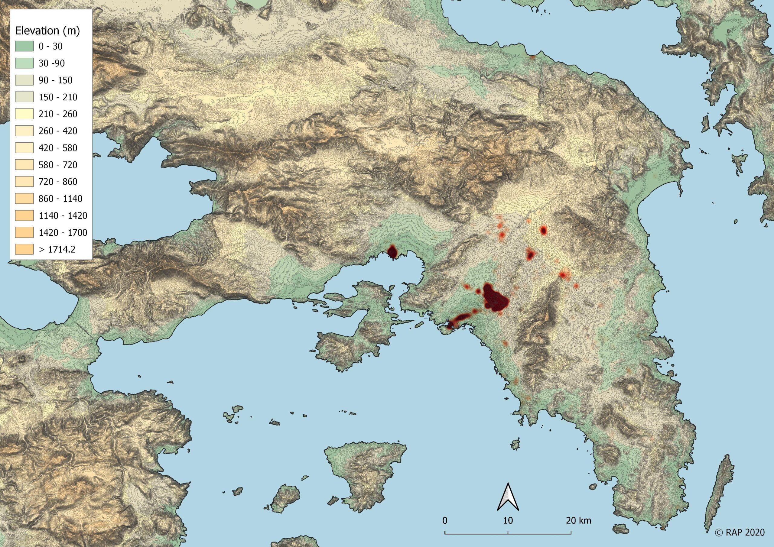 Χάρτης θερμότητας/συγκέντρωσης των ρωμαϊκών θέσεων στην Αττική